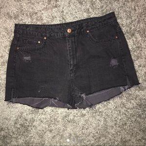 H&M black denim distressed high waisted shorts